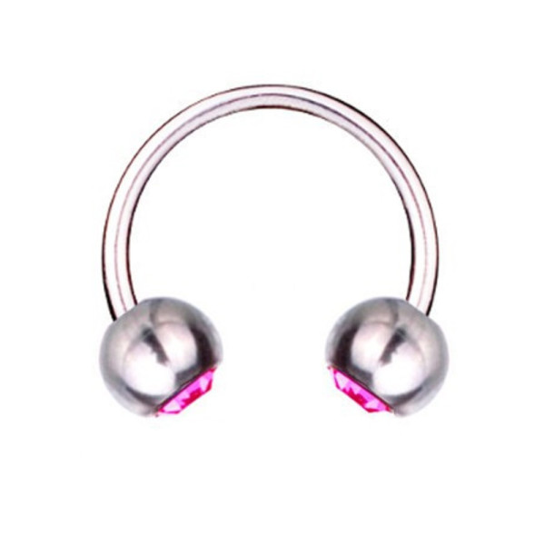 Hufeisen-Piercing Titan 1,6 mm SWAROVSKI ELEMENTS Kristalle Rosa | 8 - 16 mm