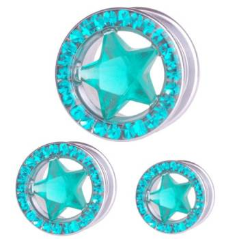 Ear Flesh Tunnel Star with Zircon Blue Multi Crystals | 8...