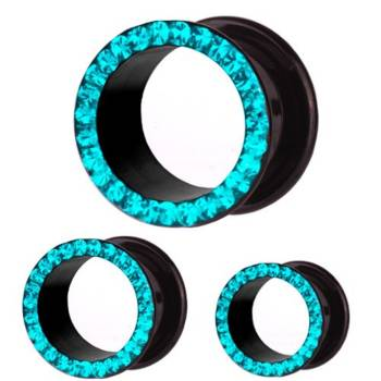 Ear Flesh Tunnel Black with Zircon Blue Multi Crystals |...