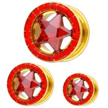 Ear Flesh Gold Plated Tunnel Star Red Multi Crystals | 8...