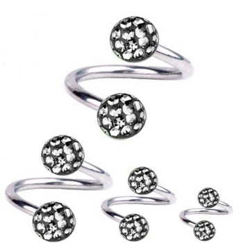 Piercing Spirale Titan 1,2 mm mit Multi Kristall Kugeln Black Diamond | 6-12 mm 12.0 mm 4.0 mm