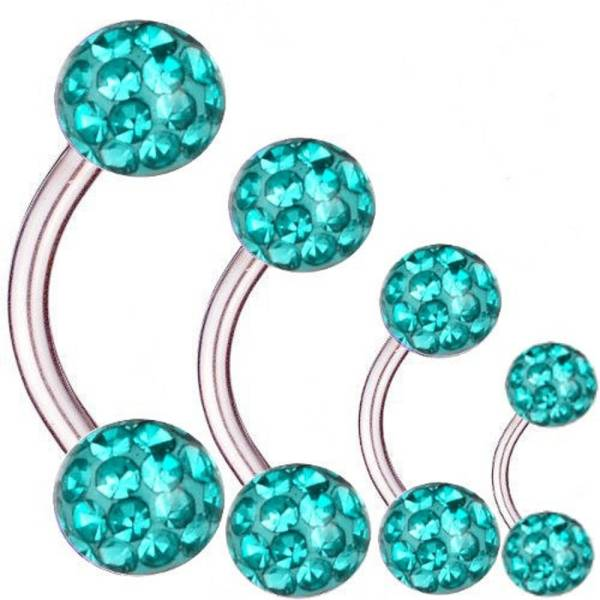 Piercing Banane Titan 1,6 mm Multi Kristall Kugeln Aquamarin | 6 - 16 mm