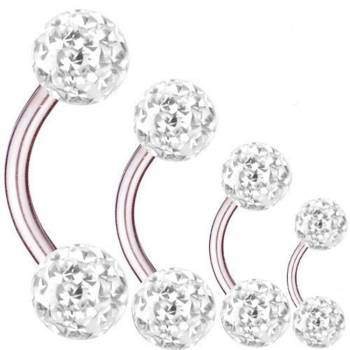 Curved Barbell Titanium, Thickness 1,6 mm, Multi Crystal...