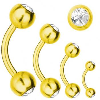 Piercing Banane Titan Vergoldet 1,2 mm, SWAROVSKI ELEMENTS Kristalle Weiß | 6-12 6.0 mm 3.0 mm