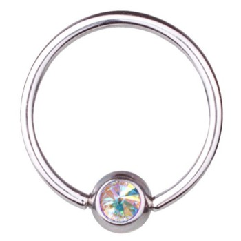 BCR Piercing Ring Titanium 1,2 mm Swarovski Elements...