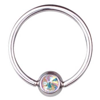 BCR Piercing Ring Titanium 1,6 mm Swarovski Elements...