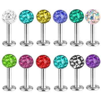 Labret Bar Stud, Lip,Tragus Piercing, Multi Crystal |...