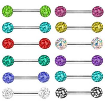Nipple Bar Barbell,Intimate Piercing, Multi Crystal |...