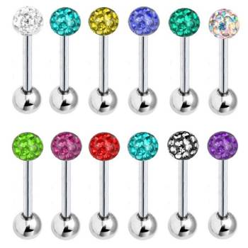 Tongue Piercing Barbell Multi Crystal | Length 12-20 mm |...