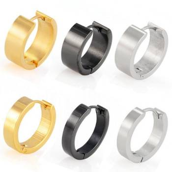 Hoop Huggie Earrings Round, Stainless Steel | 10-20 mm |...