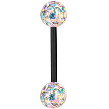 Piercing Barra Titanio Nero 1,2mm,Palline Multi Cristallo...