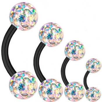 Curved Barbell Black Titanium 1,6mm, Multi Crystal Ball...