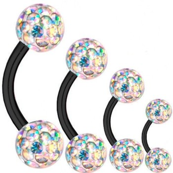 Curved Barbell Black Titanium 1,2mm, Multi Crystal Ball...