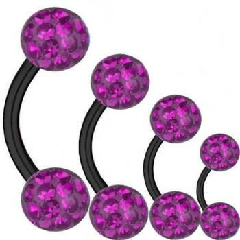 Curved Barbell Black Titanium 1,2 mm, Multi Crystal Ball...