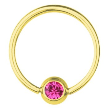 BCR-Piercing-Ring Titan Vergoldet 1,2 mm SWAROVSKI ELEMENTS Kristall Rosa | 6-12 mm 6.0 mm