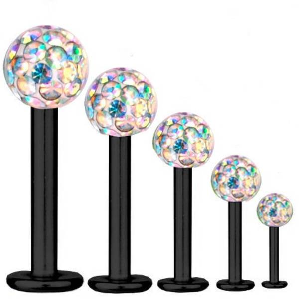Labret Bar Tragus Piercing Black Titanium 1,2 mm, Multi Crystal Aurora Borealis