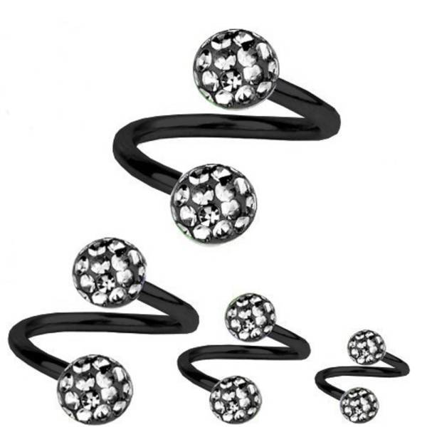 Piercing-Spirale Titan Schwarz 1,6 Multi Kristall Kugeln Black Diamond | 8-12 mm