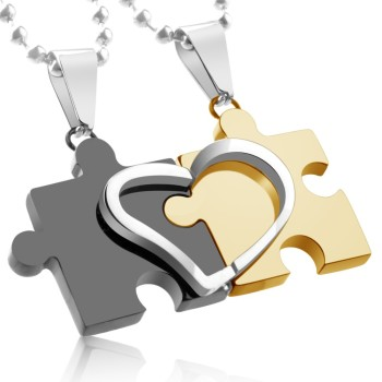 Stainless Steel, Couple Pendant Bicolour Heart Puzzle...