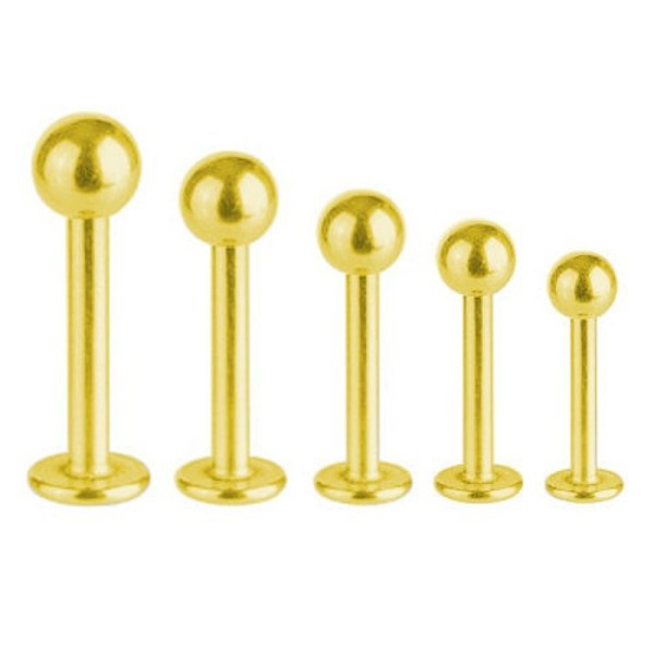 Labret Bar Tragus Monroe Piercing Gold Plated Titanium 1,2 mm With Ball | 5 - 12 mm