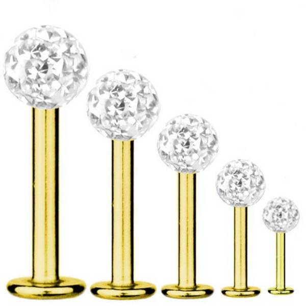Labret Bar Tragus Piercing Gold Plated Titanium 1,6 mm, Multi Crystal Ball White | 5-16 mm