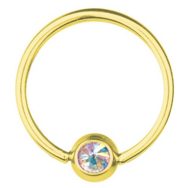 BCR Gold Plated Titanium Piercing 1,6, SWAROVSKI ELEMENTS Aurora Borealis | 8-16 mm
