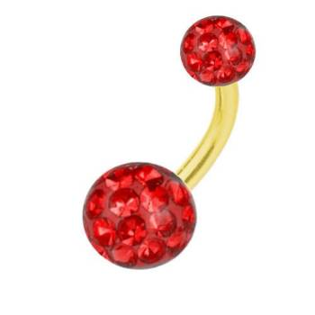 Belly Bar Banana Piercing Gold Plated Titanium, Multi...