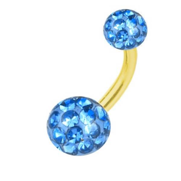 Belly Banana Piercing Gold Plated Titanium, Multi Crystal Ball Light Blue | 6-16 mm