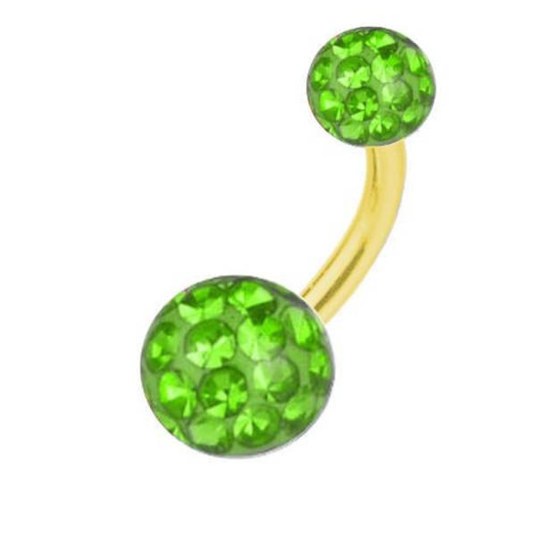 Belly Bar Banana Piercing Gold Plated Titanium, Multi Crystal Ball Green | 6-16 mm