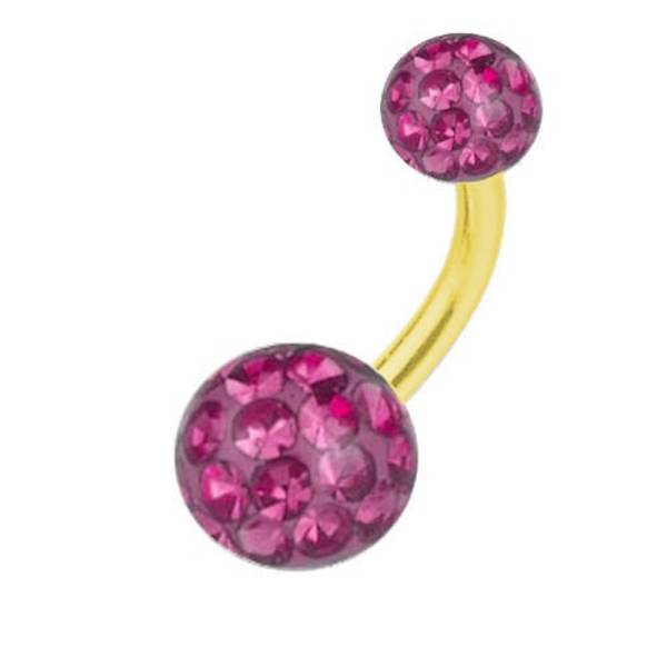 Belly Bar Banana Piercing Gold Plated Titanium, Multi Crystal Ball Pink | 6-16 mm