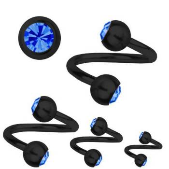 Piercing Titan Schwarz 1,6 mm SWAROVSKI ELEMENTS...