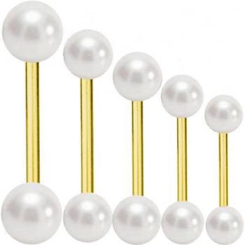 Piercing Barbell Verguld Titanium 1,6 mm Parel Wit | 6-40...