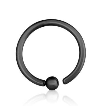 BCR Piercing Ring Zwart 1,2 mm Fixed Balletje | Diameter...