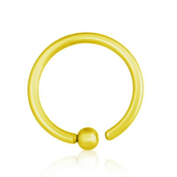 BCR Piercing Gold Plated, Fixed Ball, Thickness 1,2 mm | Diameter 6 - 12 mm