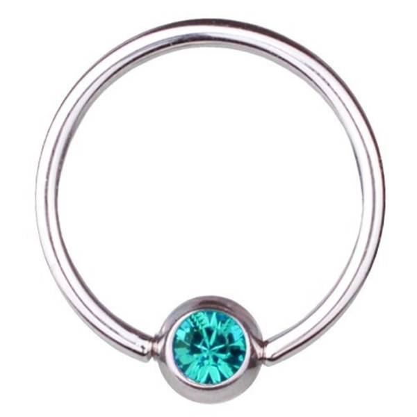 BCR Piercing-Ring Titan 0,8 mm SWAROVSKI ELEMENTS Kristall Aquamarin | 6 - 12 mm