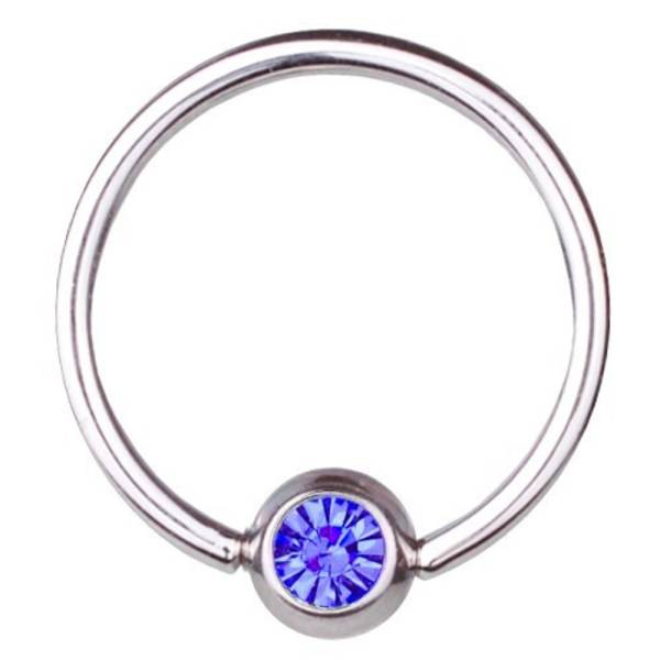BCR Piercing-Ring Titan 0,8 mm SWAROVSKI ELEMENTS Kristall Saphir Blau | 6-12 mm