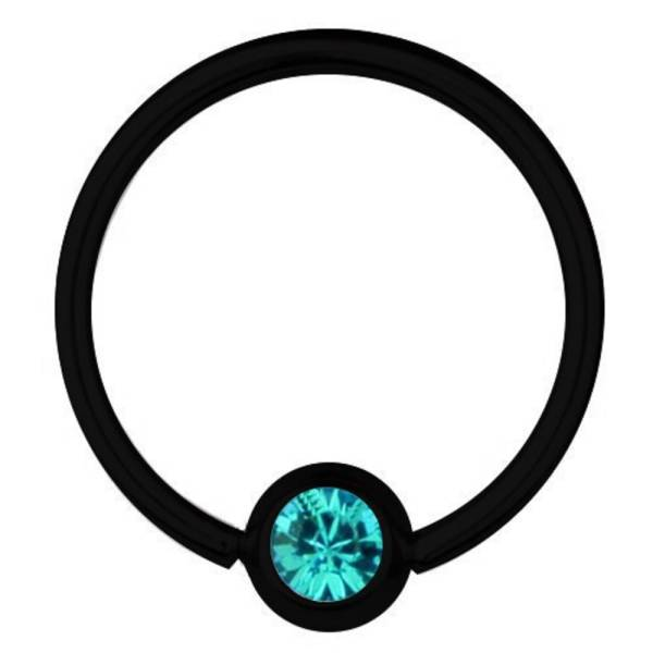 BCR-Piercing Titan Schwarz 0,8 mm SWAROVSKI ELEMENTS Kristall Aquamarin | 6-12 mm