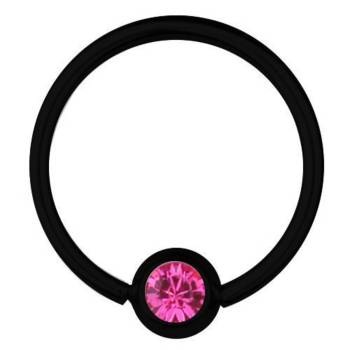BCR-Piercing-Ring Titan Schwarz 0,8 SWAROVSKI ELEMENTS...