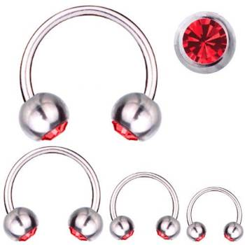 Hufeisen-Piercing Titan 1,2 mm SWAROVSKI ELEMENTS Kristalle Rot | 6 - 12 mm 6.0 mm 3.0 mm