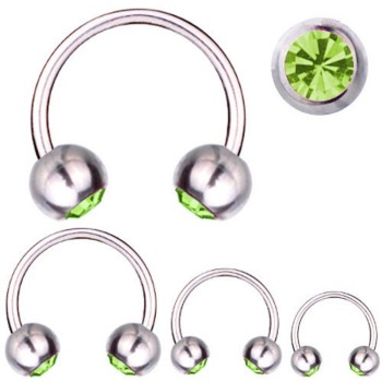 Hufeisen-Piercing Titan 1,6 mm SWAROVSKI ELEMENTS Kristalle Grün | 8 - 16 mm 8.0 mm 4.0 mm