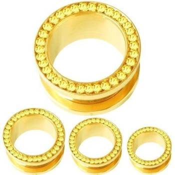 Ear Flesh Tunnel Piercing Gold Plated, Yellow Stones,...