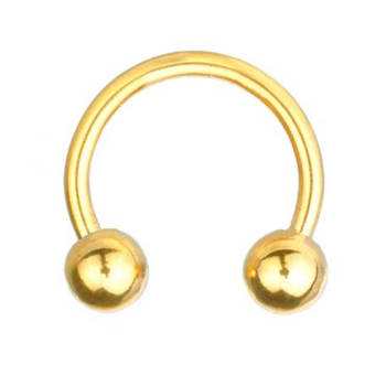 Circular Barbell Horseshoe Piercing Gold Plated, Body...